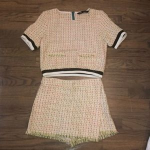 Zara minie skort/ tweed two piece set